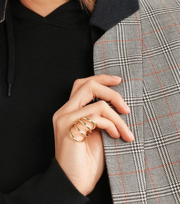 Overlap Circle Gold-plated Pinky Ring