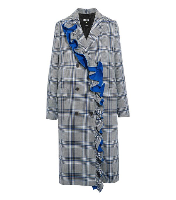 Ruffled Checked Cotton-blend Coat