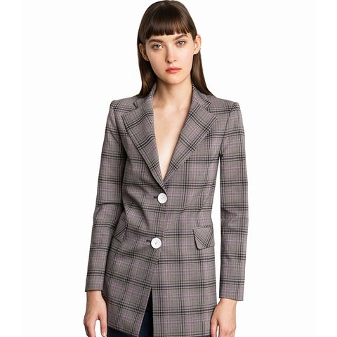 Chelsea Grey Plaid Button Blazer