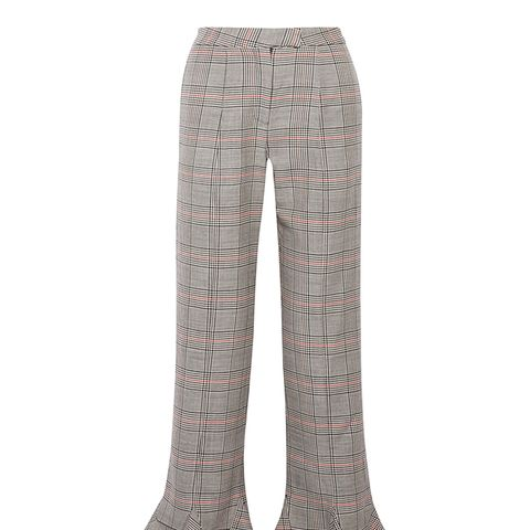 Ruffle-Trimmed Plaid Wool Straight-Leg Pants