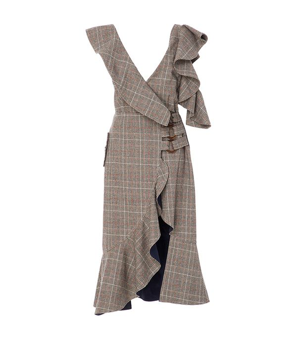 Ruffled Plaid Wrap Dress