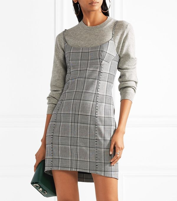 Checked Woven Mini Dress