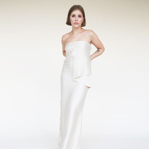 Champagne Strapless Maxi Dress
