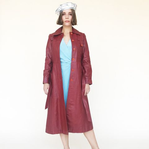 Genuine Leather Deep Red Trench Coat