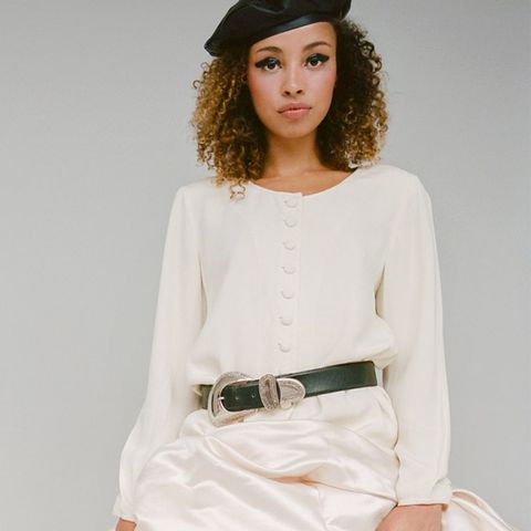Ivory Silk Button Down Blouse