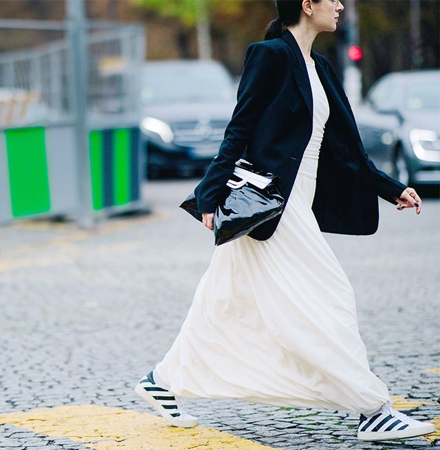 dressed up sneakers street style
