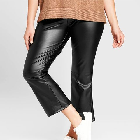 Faux Leather Crop Flare