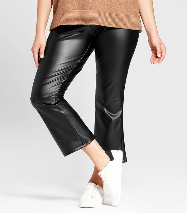 Plus Size Faux Leather Crop Flare