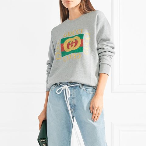 Oversized Appliquéd Printed Cotton-Terry Sweatshirt