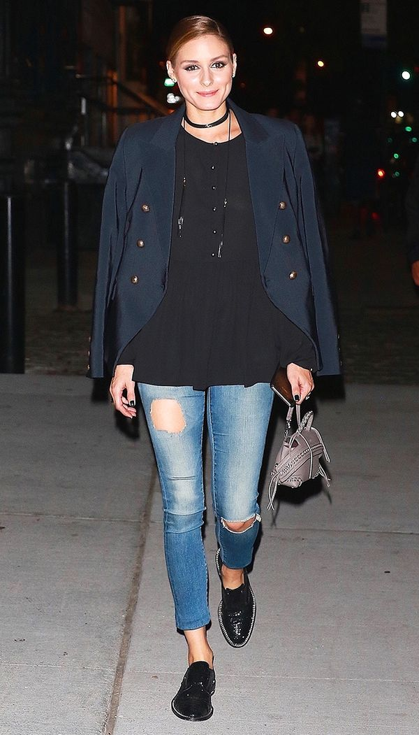 olivia palermo skinny jeans and flats