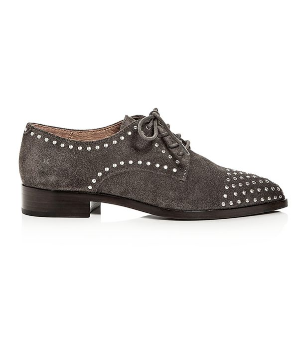 Erica Stud Embellished Suede Lace Up Oxfords