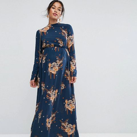 Maxi Dress With Long Sleeve in Chinoiserie Print