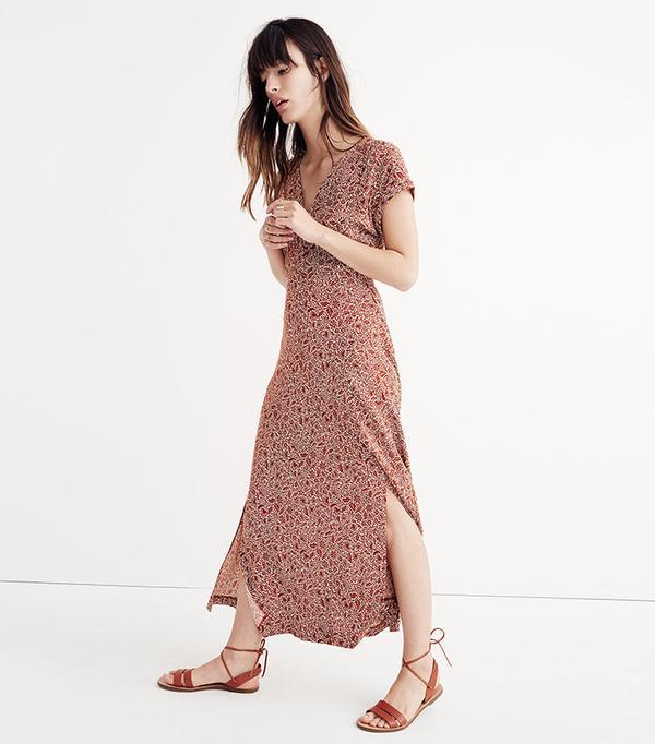 Deep-V Maxi Dress in Woodcut Floral