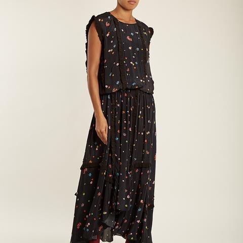 Taylor Gathered-Detail Floral-Print Maxi Dress