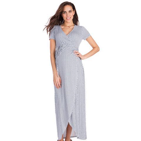 Maxi Mock-Wrap Maternity Dress