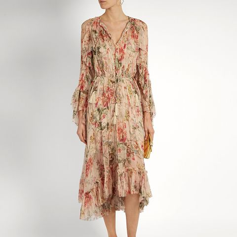 Mercer Floating Floral Print Silk Chiffon Dress