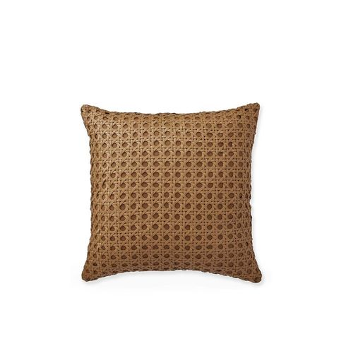Cane Woven Leather Pillow Cover