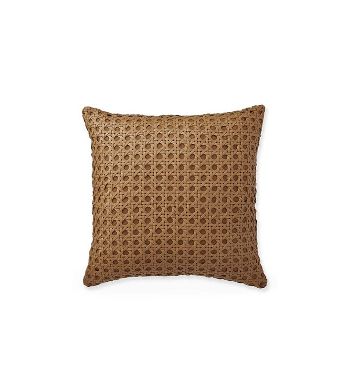 with pillow hoops feather brown faux down insert leather pillows