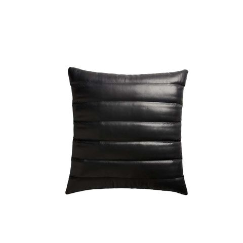 Izzy Black Leather Pillow With Down-Alternative Insert