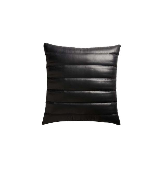 "23"" Izzy Black Leather Pillow with Down-Alternative Insert"