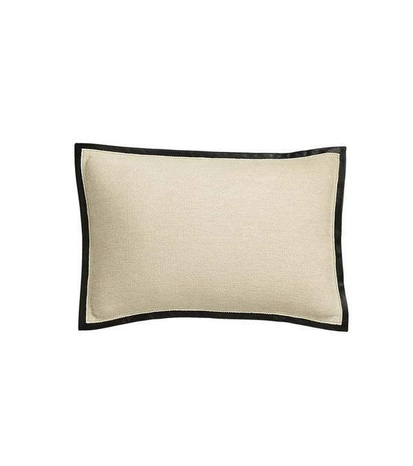 "18""x12"" Delaney Beige Linen Pillow with Down-Alternative Insert"