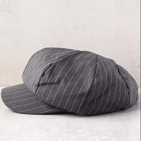 Dabney Grey Striped Baker Boy Hat