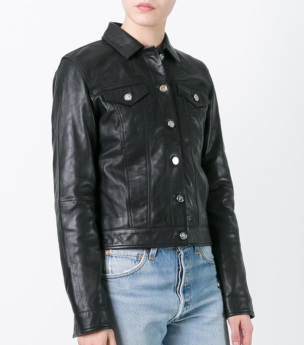 buttoned leather jacket