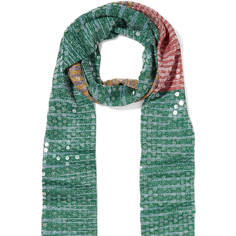 Sequined Striped Crochet-Knit Scarf
