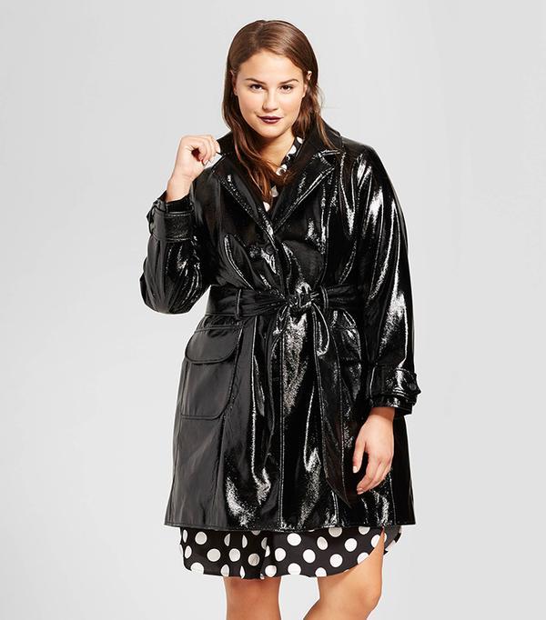 Plus Size Patent Trench Coat