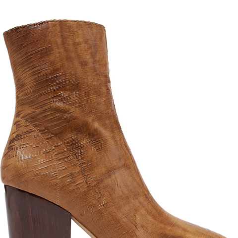 Ladila Sliced Leather Ankle Boots in Tan