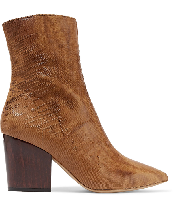 - Ladila Sliced Leather Ankle Boots - Tan
