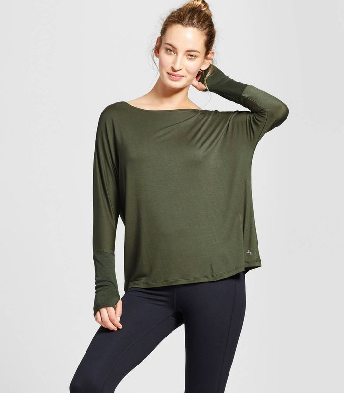 Open Back T-Shirt with Ribbed Sleeves by JoyLab