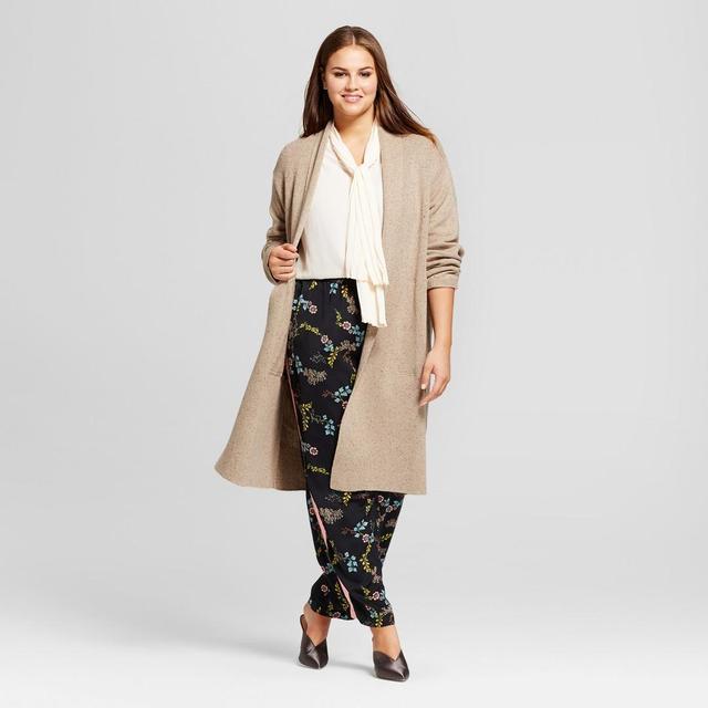 Plus Size Long Sleeve Tweed Cardigan Sweater
