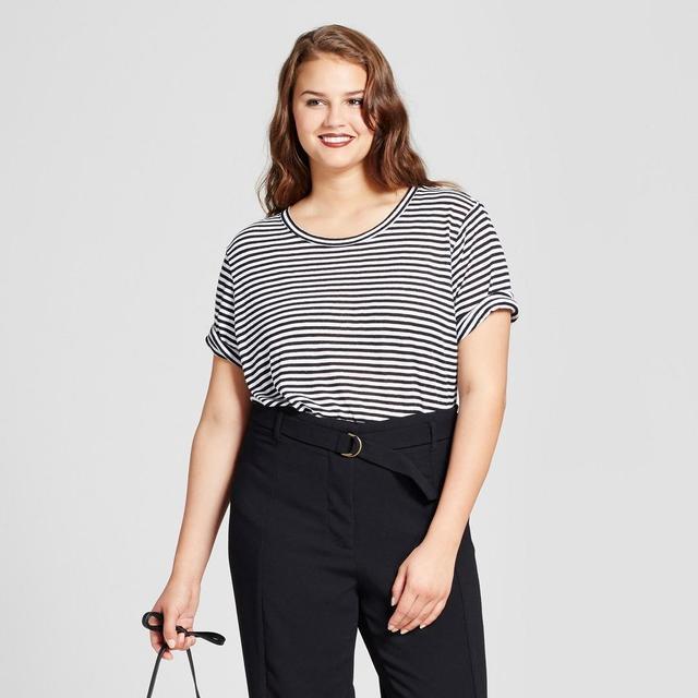 Plus Size Rib Trim Elbow Sleeve T-shirt