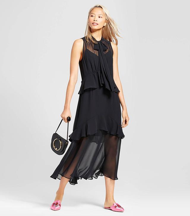Tiered Ruffle Midi Dress- Black/yellow Floral M
