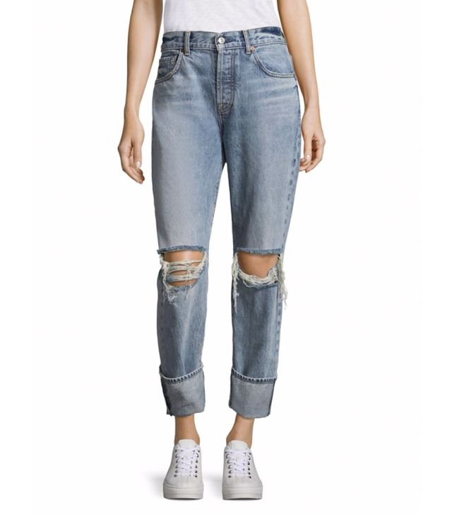 7 For All Mankind Rickie Wide-Cuff Distressed Jeans