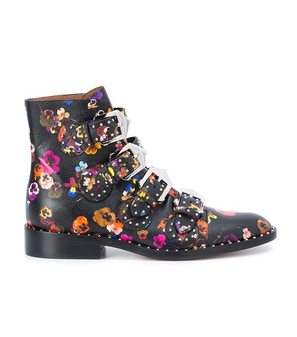 floral-print ankle boots