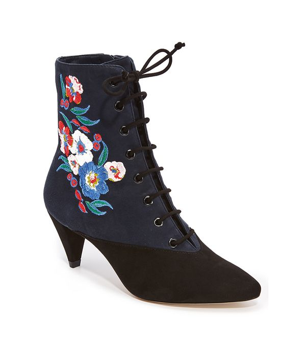 Tory Burch Cassidy 45mm Lace Up Embroidered Booties