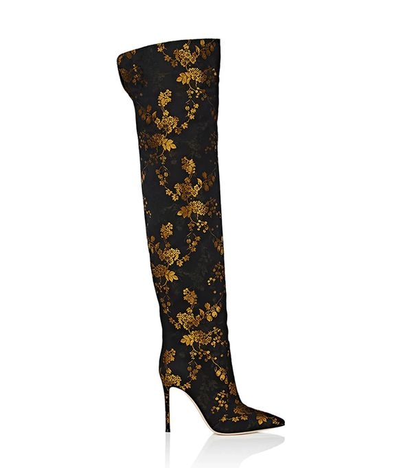 Rennes Kyoto-Floral-Print Jacquard Satin Cuissard Boots