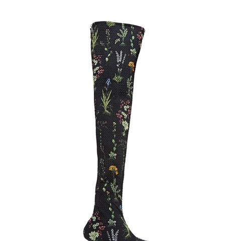 Elliot Floral-Print Matelassé Over-the-Knee Boots
