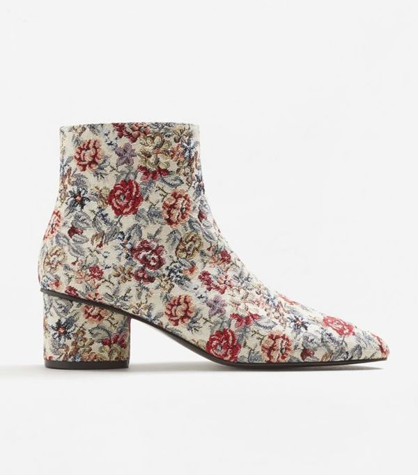 Floral jacquard ankle boots