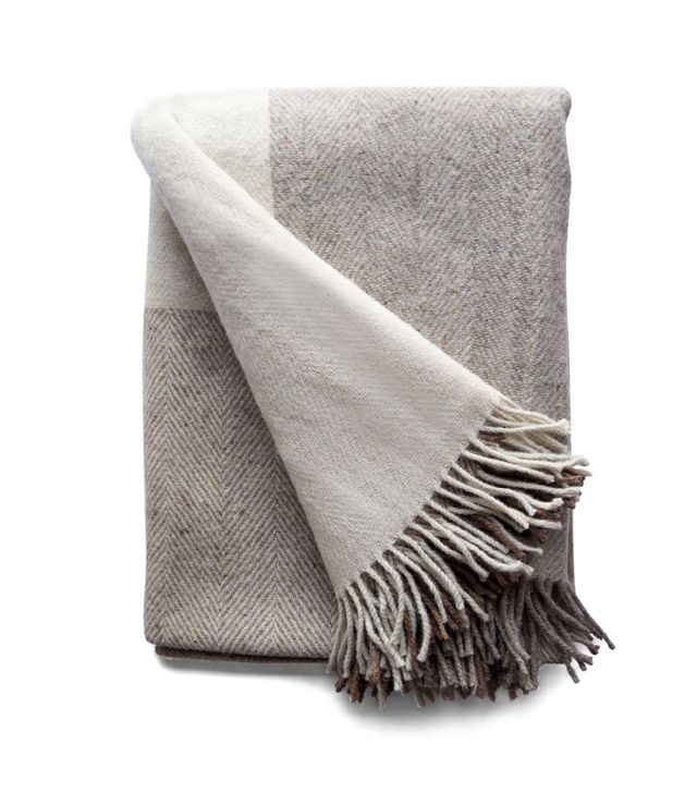 Simply Birch Irish Oatmeal Block Wool Throw