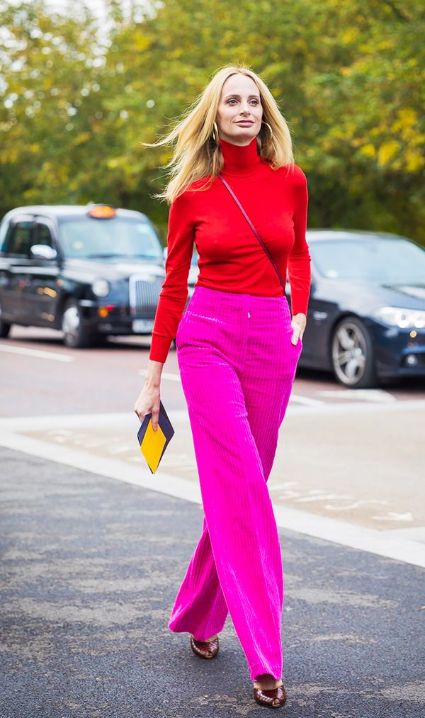 Don't shy away from color. Bright fuchsia feels so fresh paired with a red turtleneck.