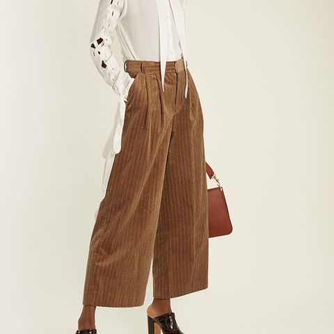 Wide-Leg Cropped Cotton-Corduroy Trousers