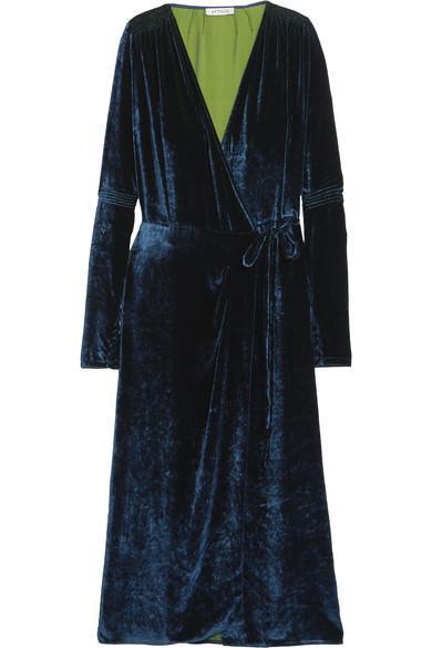 Crushed-velvet Wrap Midi Dress