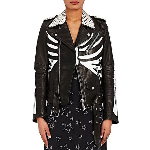 Studded Skeleton-Painted-Leather Moto Jacket