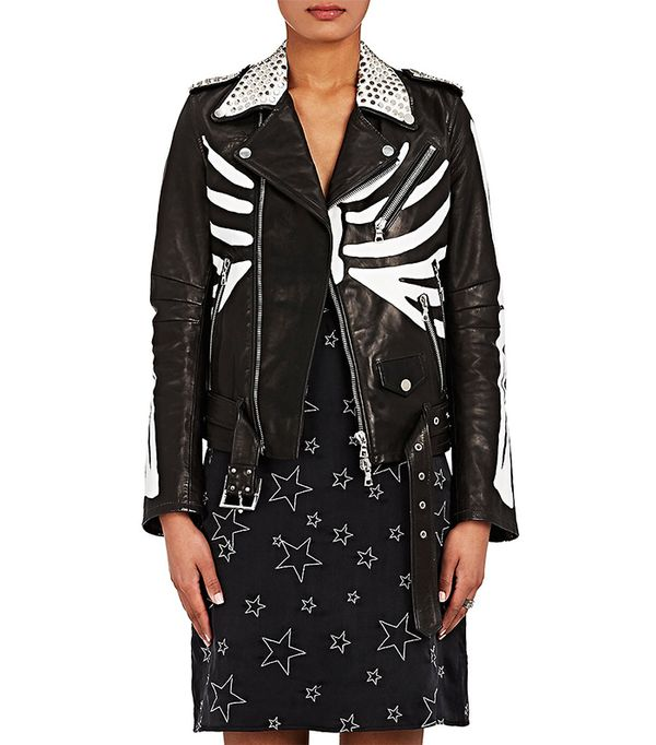 Amiri Studded Skeleton-Painted-Leather Moto Jacket