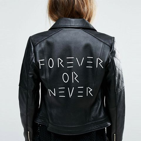 Ultimate Leather Biker Jacket With Diamond Quilting and Back Print