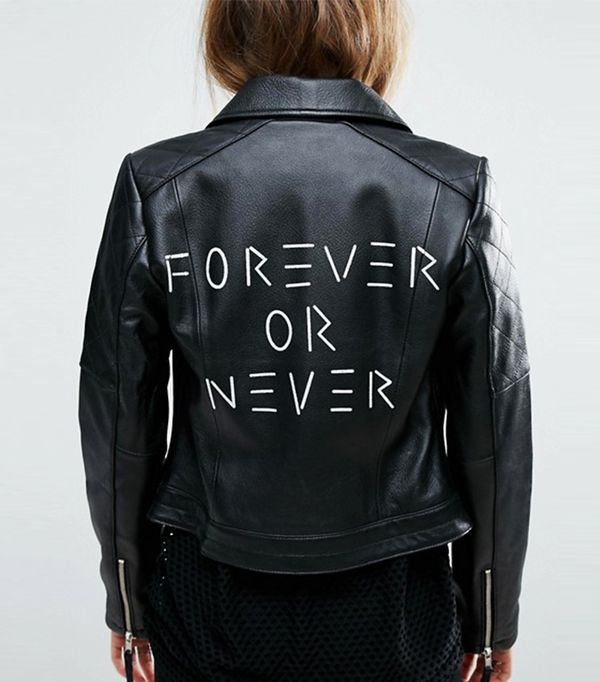 ASOS Ultimate Leather Biker Jacket With Diamond Quilting and Back Print