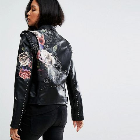 Leather Look Jacket With Floral Detail